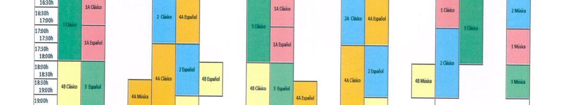 """Horarios Conservatorio Elemental de Danza """"EL BROCENSE"""" CURSO 2021/2022"""